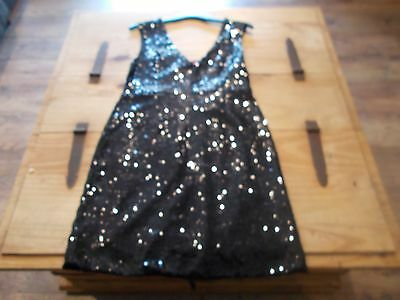 bnwt size 8  short stretch fitted sleeveless  black sequin dress  RRP £30
