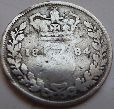 RARE 1884 THREEPENCE 3d BRITISH SILVER COIN FROM VICTORIA COIN HUNT