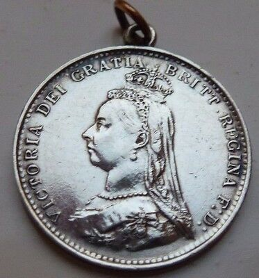 1887 Queen Victoria Silver Threepence Three Pence 3D Coin With Loop High Grade