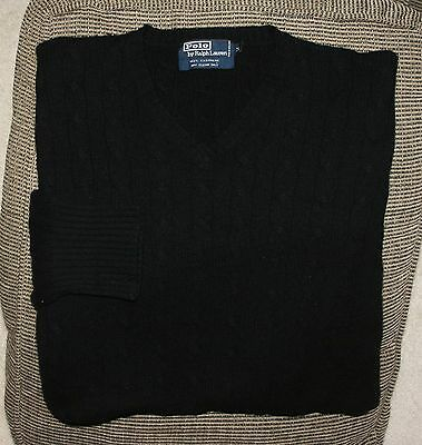 Nice Mens Polo Ralph Lauren L/S Cableknit V-Neck Sweater Medium M Black Cashmere