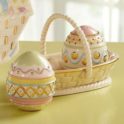 Lenox Easter Egg Salt and Pepper Set with Basket Gold Accents New in Box