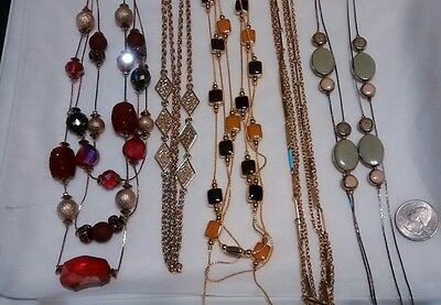 """Lot 5 Multi Necklace Chain Glass Enamel Beads  20"""" to 30"""" cascade"""