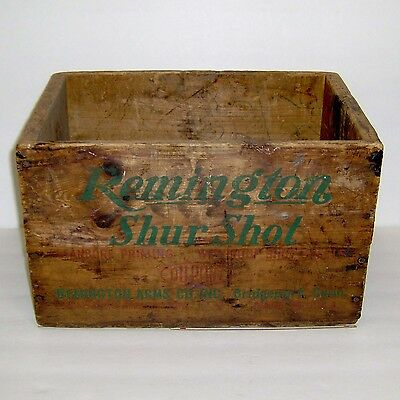 "Vintage Remington ""shur Shot"" 12 Ga. Empty Wooden Shotgun Shell Box Crate"