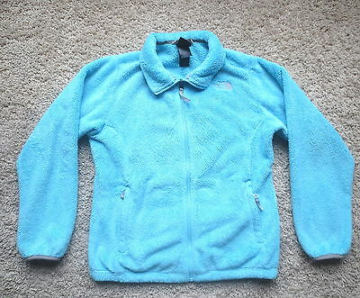 The North Face Blue/gray Full Zip Girls Plush Fleece Jacket Sz Xlarge(18)