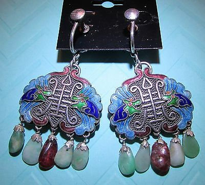 Antique Chinese Cloisonne Earrings Dragons & Dangles Sterling Silver, Screw Top