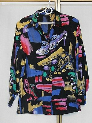 Vintage 80s 90s Abstract Print Long Sleeve Blouse Shirt Top M/L