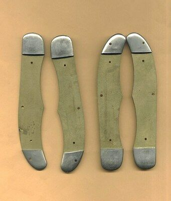 "VINTAGE SET of 2 LARGE 5 1/4"" SCHRADE POCKET KNIFE HANDLES *2 Matched Pairs"