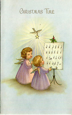Vintage Christmas Card: Little Angels with Music