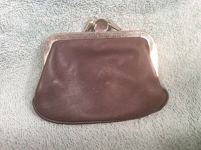 "VINTAGE WOMANS COIN PURSE WALLET  BROWN LEATHER 3""x4"""
