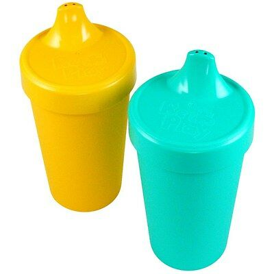 Re-Play 2 Pack Spill Proof Cups, Aqua/Orange - 80602