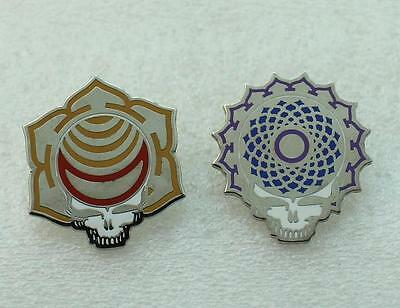 Grateful Dead 2 Pins Set Steal Your Face Mystic Skull Stealie Pin