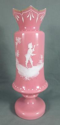 "Antique Bohemian MARY GREGORY Pink Cased Glass 10"" Vase BOY BLOWING BUBBLES"