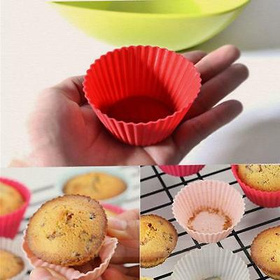 12PC Soft Silicone Cake Muffin Chocolate Cupcake Liner Baking Cup Mold Moulds LG