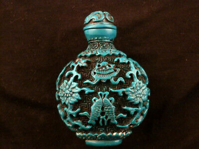 Good Quality Chinese Blue Hand Carved *Ritual Implement* Snuff Bottle P104