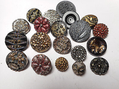 20 Black Glass w Carnival Gold Silver Lusters Victorian Antique Buttons