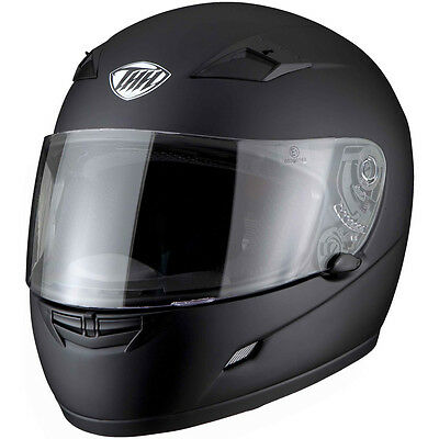 New Thh Ts-39 Full Face Matt Black Motorcycle Helmet Clear Visor Size 2Xlarge