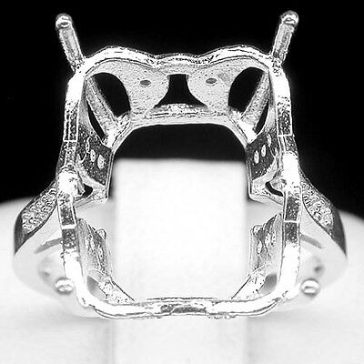 Blazing! Ring Setting Real Sterling Silver 925 Emerald 14 X 11 Mm. Size 6.75