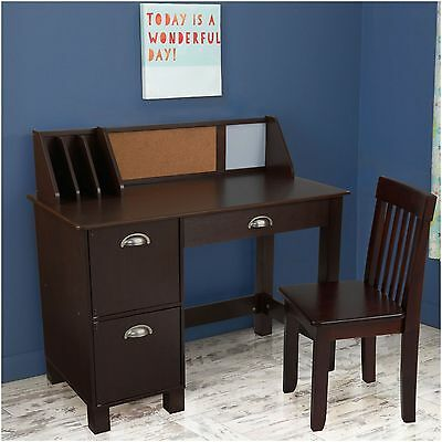 Study Desk with Drawers , Espresso - 26703