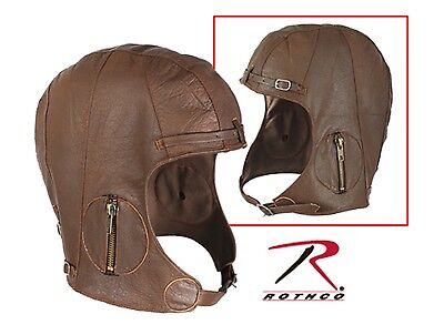 BROWN Rothco Leather Aviator Pilot Motorcycle Cap Vintage WWII Style Hat M/L New