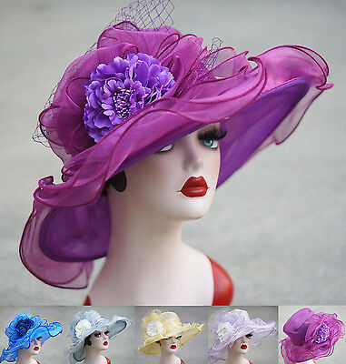 Womens Wide Brim Organza Dress Dress Sun Hat Wedding Church Kentucky Derby A414