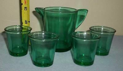 Vintage Child's Size Miniature Green Glass Pitcher & 4 Glasses Set
