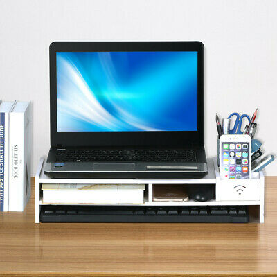 Computer Riser Monitor Stand Tidy PC Laptop Screen TV Desk Storage Printer Rack