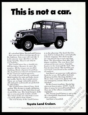 1970 Toyota Land Cruiser SUV photo This Is Not A Car vintage print ad
