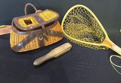 Old Vintage Fly Fishing Creel Wicker Basket Leather Fish Net and Scraper