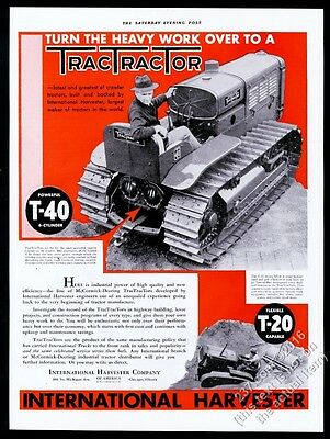1932 International Harvester TracTracTor T-40 crawler tractor photo print ad