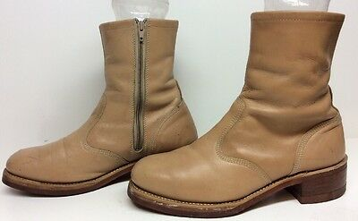Mens Unbranded Steel Toe Motorcycle Leather Light Brown Boots Size 10 D