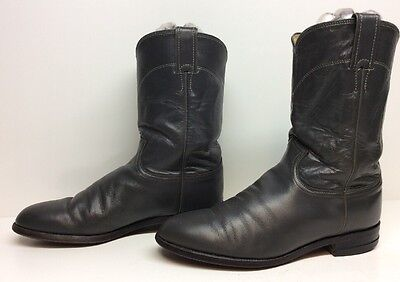 Mens Justin Western Roper Leather Gray Boots Size 8 D