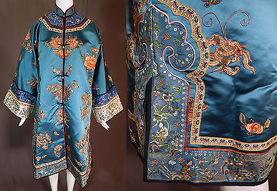 Antique Chinese Forbidden Stitch Gold Couching Embroidery Applique Robe Coat Vtg