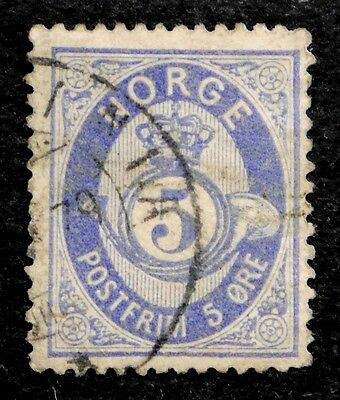 Norway: 1877 Classic Era Stamp Scott #24 Used