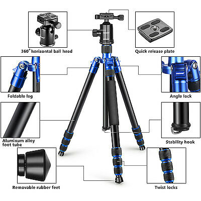 Neewer Alluminum Alloy 65 inches Tripod Monopod with 360 Degree Ball Head