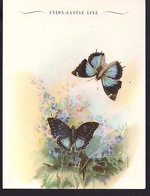 Shipping - Union Castle Line - RMMV Athlone Castle Dinner 22/9/56 Blue Charaxes