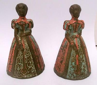 Pair of Unusual Old English Painted Brass Lady Bell / Candle Snuffers