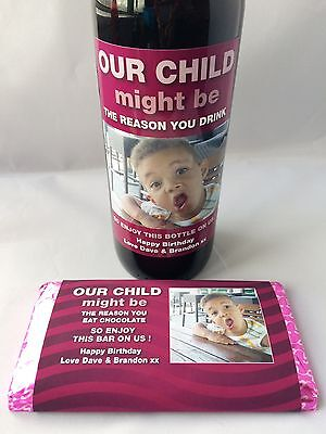 Personalised Happy Birthday Reason You Drink Wine Label + Chocolate Wrap Gift