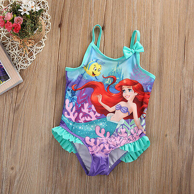 Kids Baby Girls Little Mermaid Costume Bikini Swimwear Swimsuit Outfit One-Piece