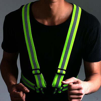 Hot Flex Active Sports Reflective Safety Vest Running Suspenders High Visibility