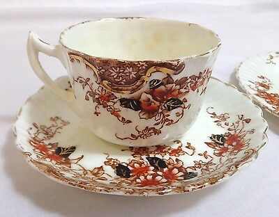 China Cup and Saucer with Side Plate Oriental Floral - Crown Makers Mark (252J)