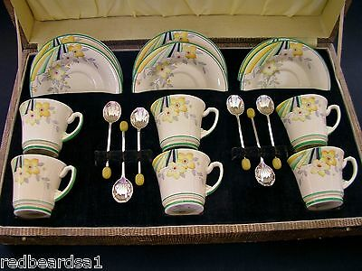 Crown Devon Rare Art Deco Vintage China 6 Demitasse Cups Spoons England c1930s