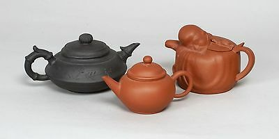 Three Vintage Chinese Yixing Pottery Teapots