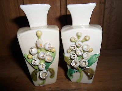 Pair Of Victorian Vases With Raised Flowers  £1.99 Sale