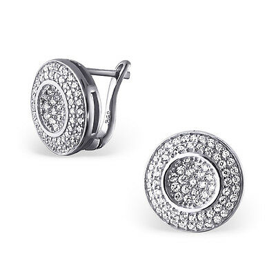 Rhodium over 925 Sterling Silver - Round Studs with CZ in a Micro Pave Setting