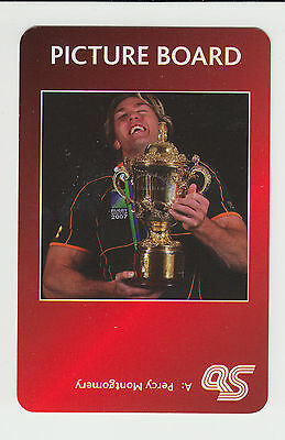 Rugby Union : Percy Montgomery : South Africa : UK sports game card - red back