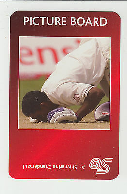 Cricket : Shivnarine Chanderpaul : West Indies : UK sports game card - red back