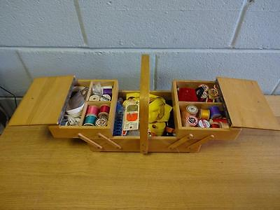 Vintage Wooden 2 Tier Fold Out Sewing Box With Accessories