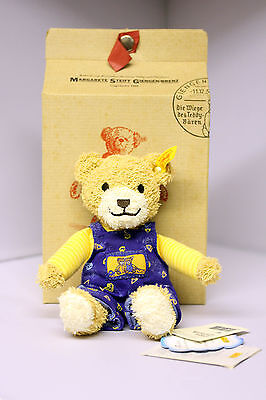 NEW with Tags Steiff Luxury Teddy Bear in Dungarees Suitable for Baby