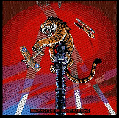 TYGERS OF PAN TANG 'CRAZY NIGHTS '  woven patch.Cover artwork by Rodney Matthews