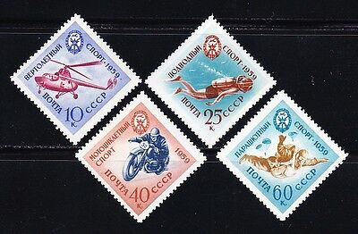 Russia 1959 MNH Sc 2262-2265 Helicopter,Diver,Motorcyclist,Parachutist.